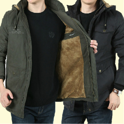ZHAN DI JI PU爆款棉衣男加绒加厚棉服男士中长款男装棉袄外套中长款冬装