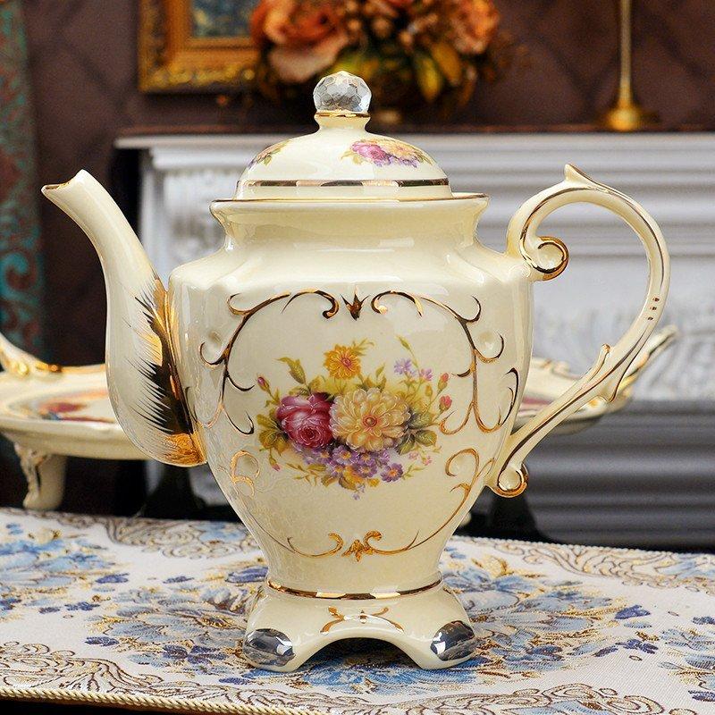 8头异域风情玫瑰茶具 欧式茶具套装带托盘咖啡杯套装英式下午茶茶具