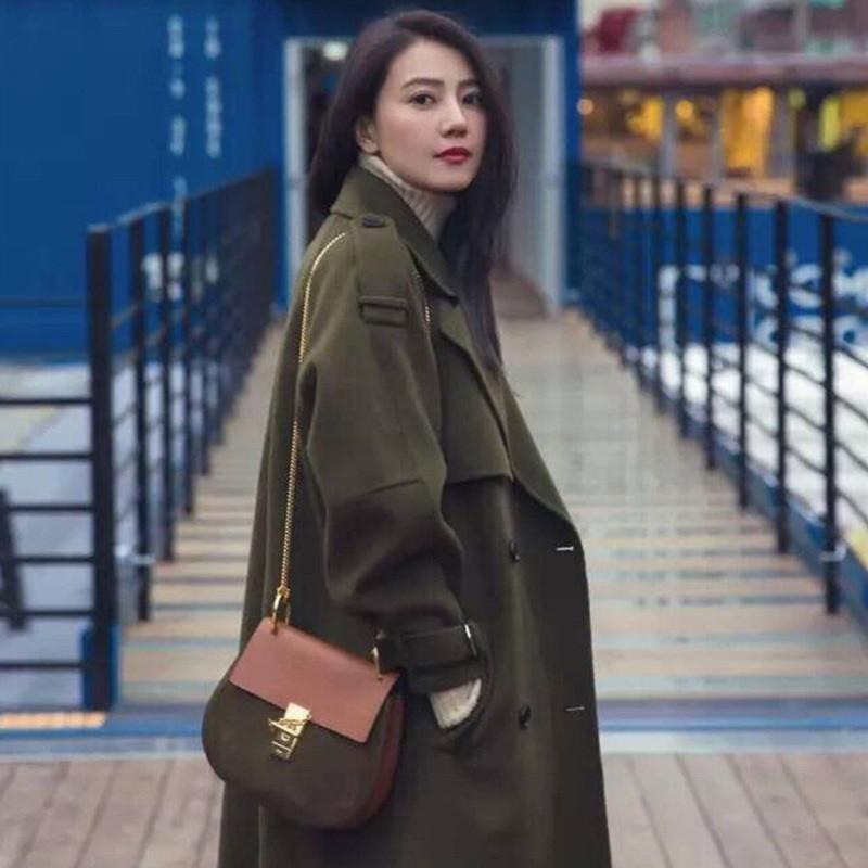秋装明星高圆圆同款军绿色韩版毛呢大衣外套女秋冬超长双面中长款呢子