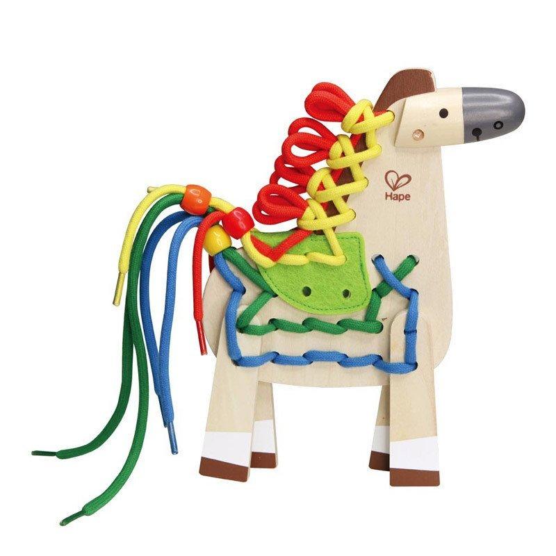 德国hape3岁+早教穿线益智玩具拼花穿绳e1016小朋友玩具小小马圆圈图片