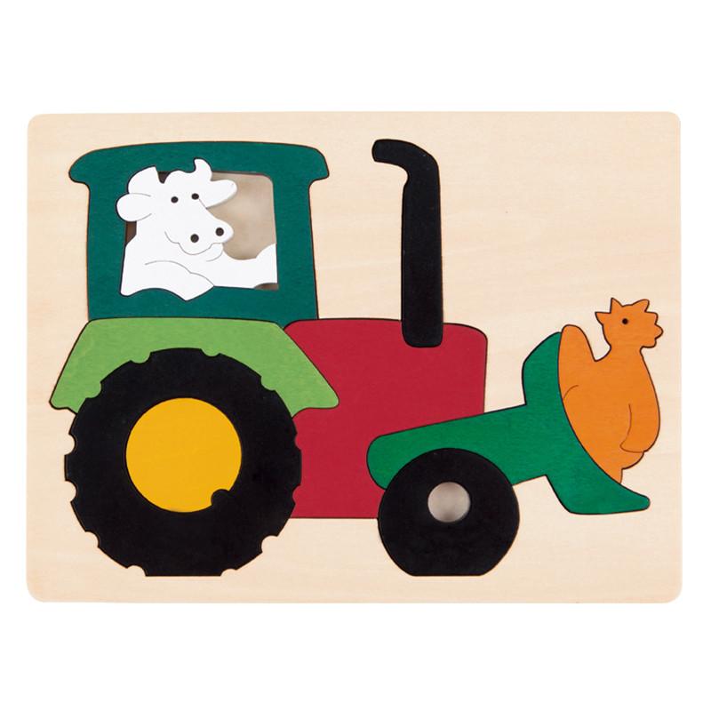 德国hapee6507创意拼图-疯狂拖拉机早教启蒙木制玩具国外唯美bjd娃娃图片