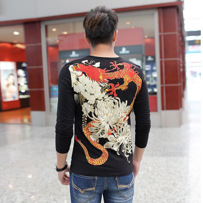 情中国风霸气圆领长袖t恤男士龙图腾印花纹身打底衫古惑仔个性衣服