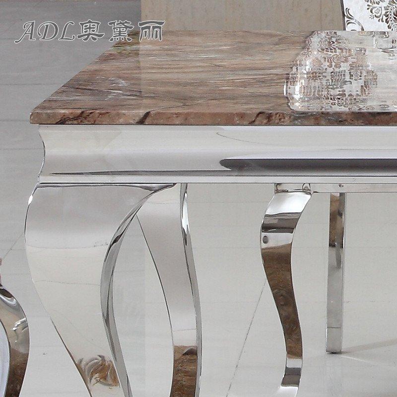 adl/奥黛丽 不锈钢餐桌 简约现代 欧式大理石餐桌组合