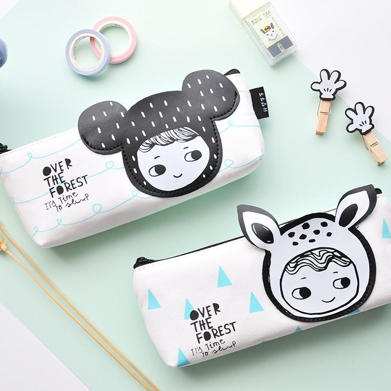 uoopink韩国创意学生文具么么森林倒梯形笔袋可爱清新