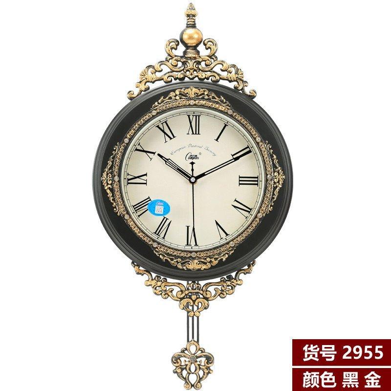 康巴丝钟表摇摆挂钟 欧式客厅餐厅挂表墙钟静音创意大号石英钟表