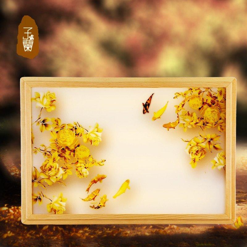 日式简约客厅灯 调光led大气长方形卧室灯中国风实木喷绘灯具 金秋