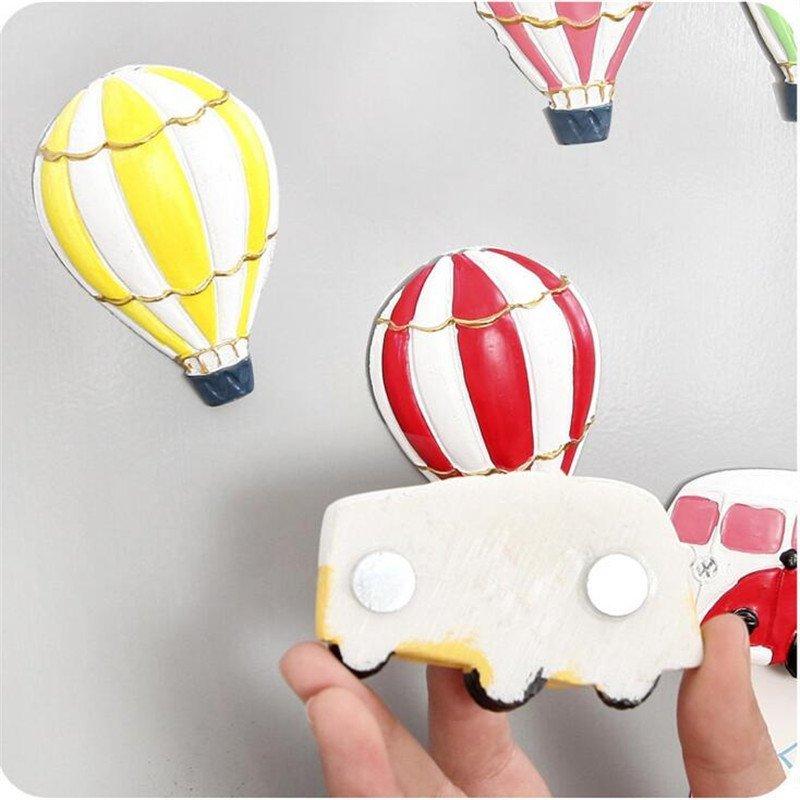 文博a431时尚热气球与巴士立体大树脂冰箱贴 可爱卡通