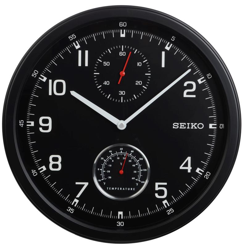 2017年新款14英寸seiko日本精工时钟 温度计 次秒针个性挂钟挂表