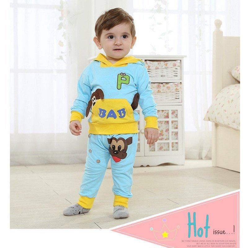 童趣熊 春秋款儿童套装 可爱小狗运动卫衣宝宝套装 0413