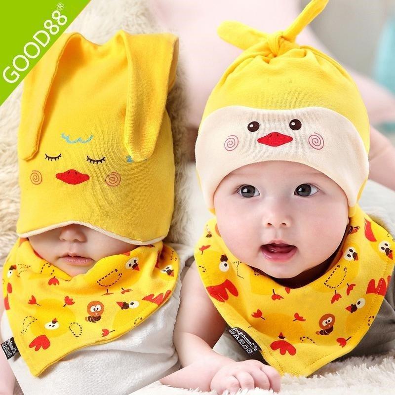 新生儿婴幼儿帽子三角巾两件套纯棉胎帽男女宝宝帽子可爱动物婴儿睡眠