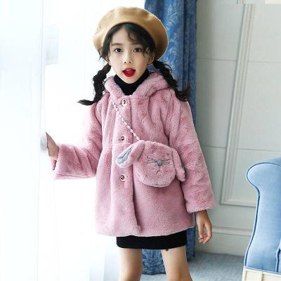 童趣熊PLAYFUL BEAR 女童加厚外套2019新款冬装女宝宝夹棉仿皮草棉衣女儿童洋气毛毛衣