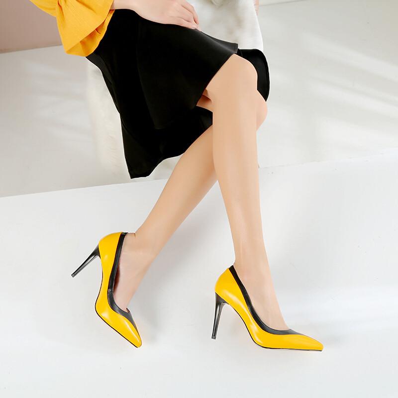 杨幂同款尖头细跟浅口高跟鞋真皮拼色单鞋韩版潮气质优雅名媛女鞋