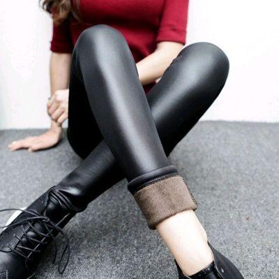 【加绒加厚仿皮打底裤】 高腰紧身保暖 秋冬大码女裤