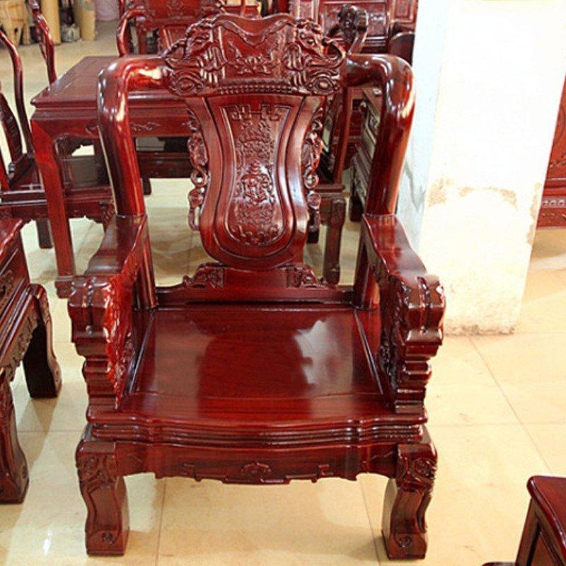 集一美红木家具红木沙发5件套象头实木客厅组合红花梨