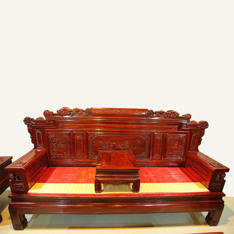 红木家具红木沙发六件套实木沙发财源滚滚双面雕花非洲酸枝木 十一