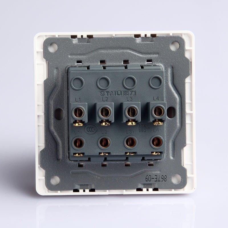 泰力开关插座/白色面板 四位单极开关 墙壁开关面板tl86te-09