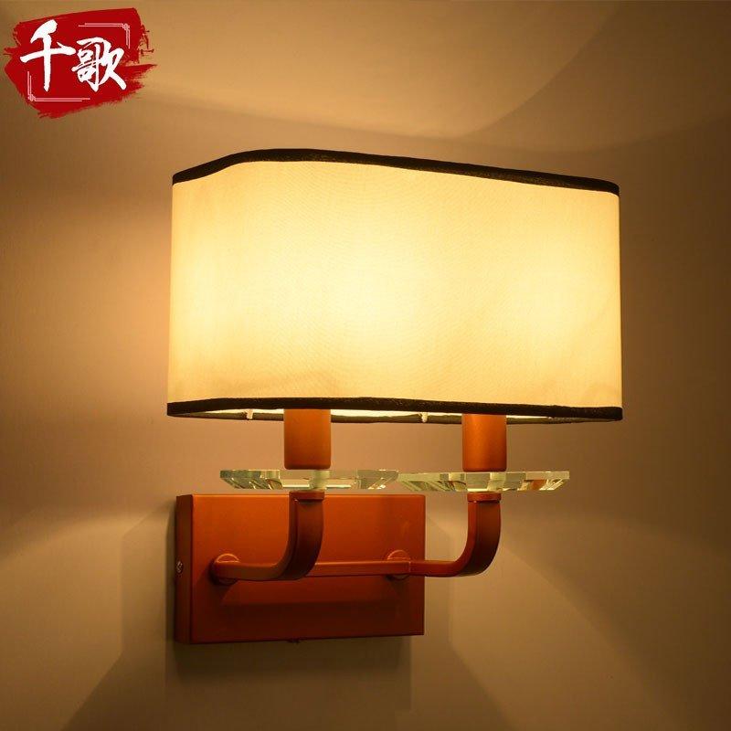 千歌 新中式壁灯 仿古铁艺客厅卧室床头灯走廊过道墙壁灯中式灯具