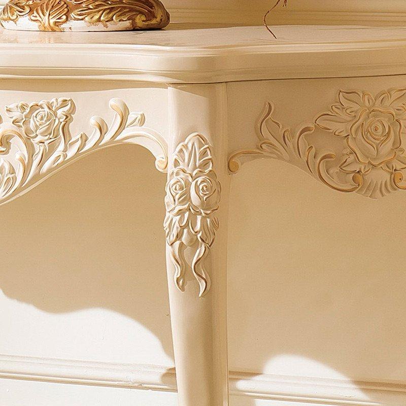 法莉娜 欧式实木玄关桌雕花 描金半圆桌子 法式玄关台