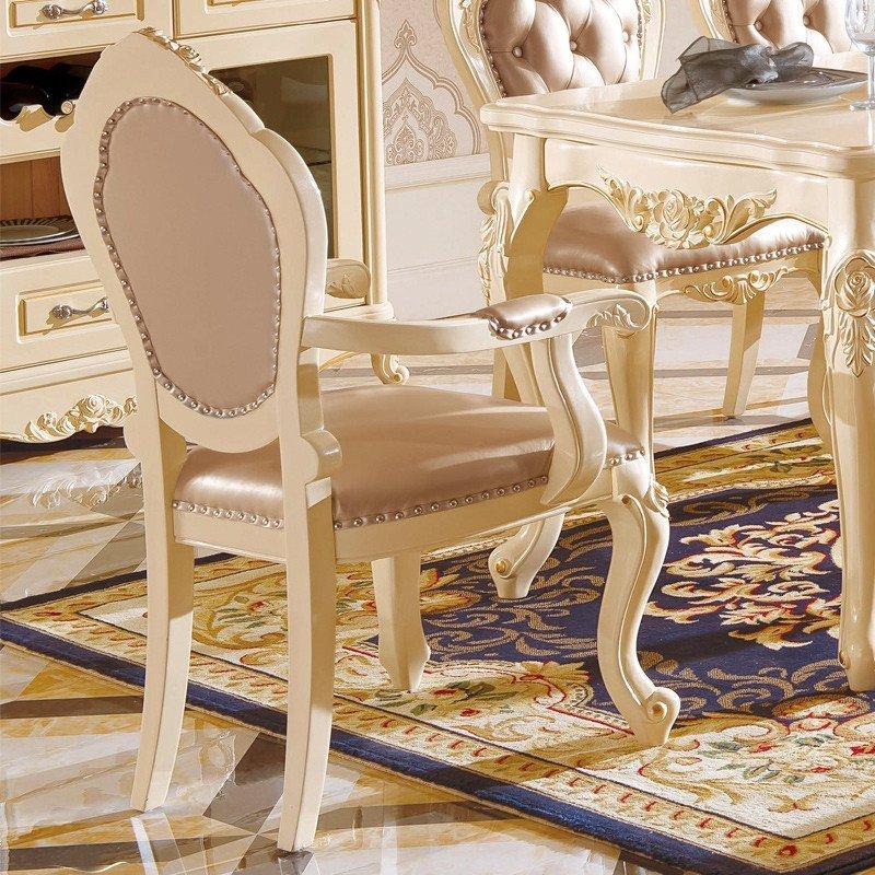 法莉娜 欧式实木餐椅木质雕花 法式皮艺休闲椅 书房电脑椅子 m77