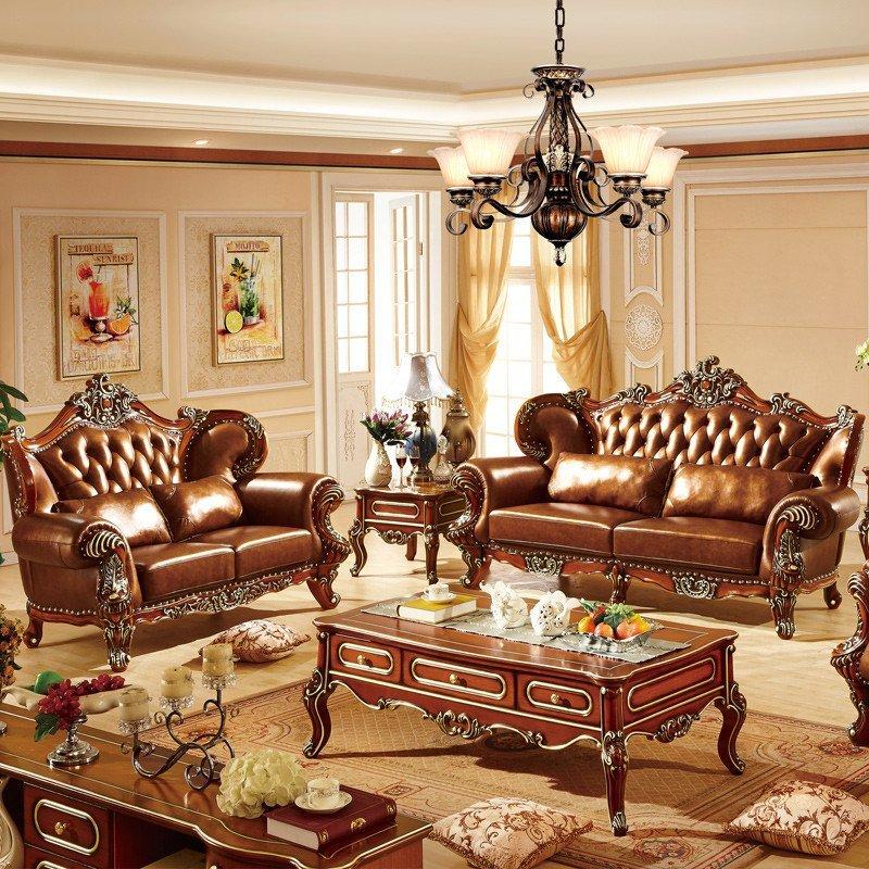 法莉娜 欧式实木真皮沙发组合 美式新古典橡木沙发 法式沙发 rs3图片