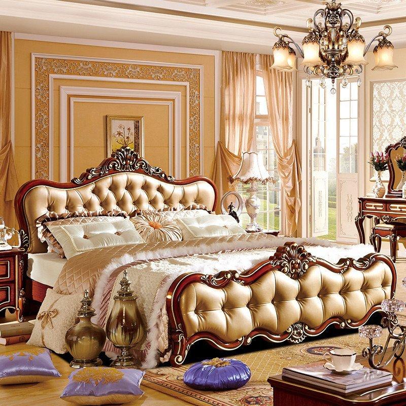 新古典双人床 美式实木公主床深色欧式床真皮卧室