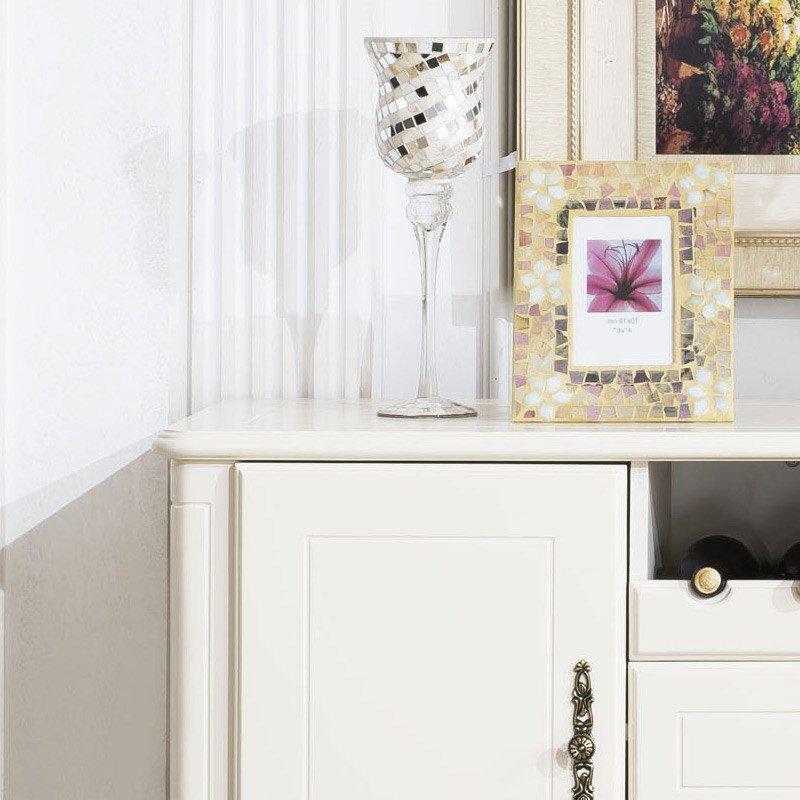 法莉娜 美式餐边柜 实木碗柜橱柜 田园厨房柜 欧式边