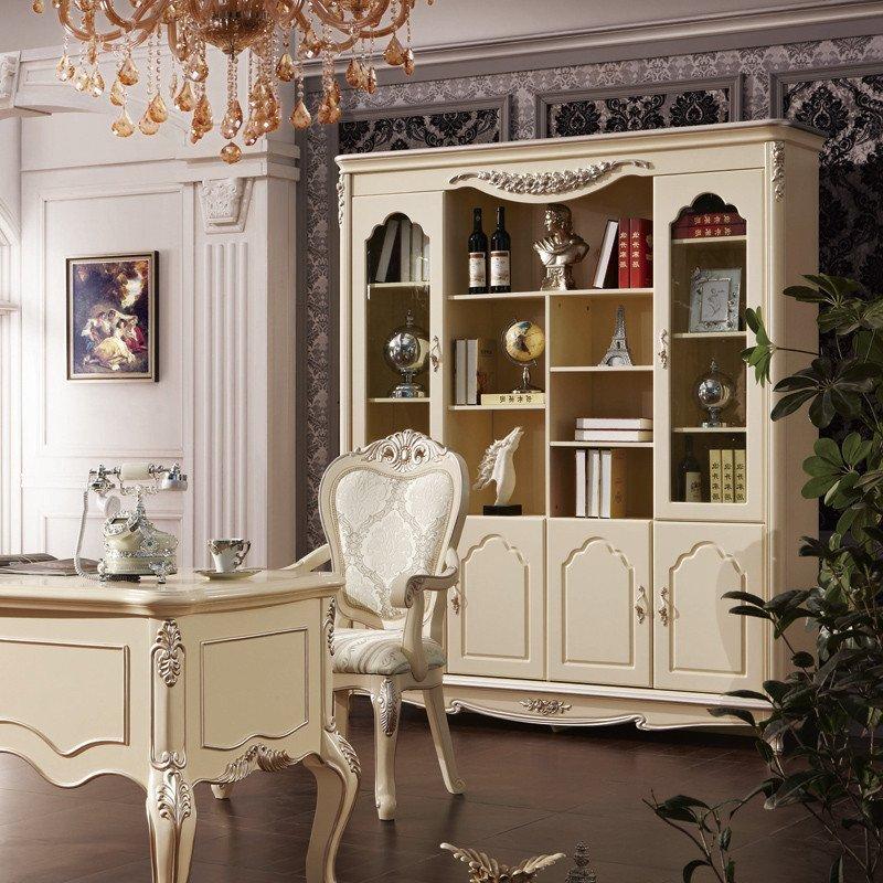 法莉娜 欧式书柜书架四门 法式实木书橱玻璃转角组合书房家具 h71