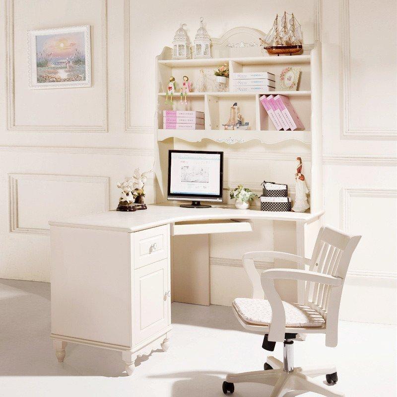 法莉娜 欧式转角书桌实木 田园电脑桌书架组合 韩式写字台 g71b