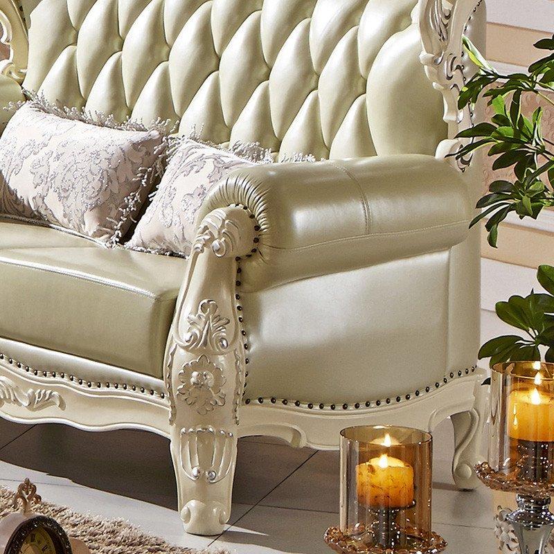 法莉娜 欧式真皮沙发 全实木雕花皮艺sofa组合 别墅客厅家具gs8