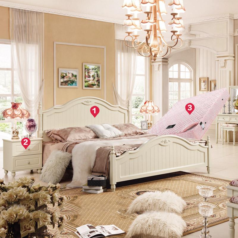韩式田园家具套装主卧室成套组合 实木双人床衣柜全套图片