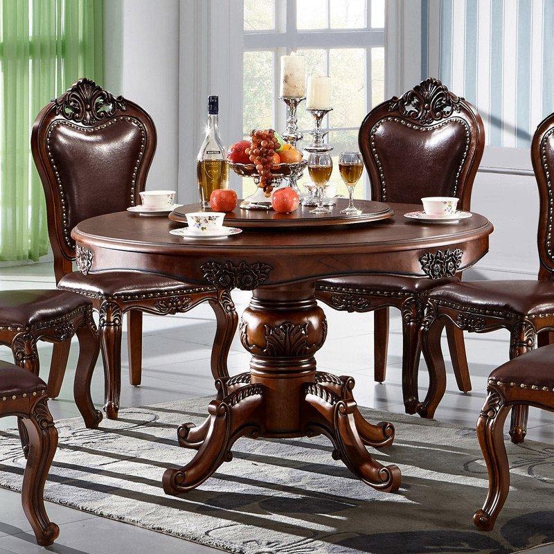 欧式圆桌实木餐桌椅组合