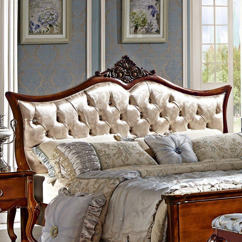 法莉娜 欧式床实木双人床 美式公主床布艺田园床婚床卧室家具 d03