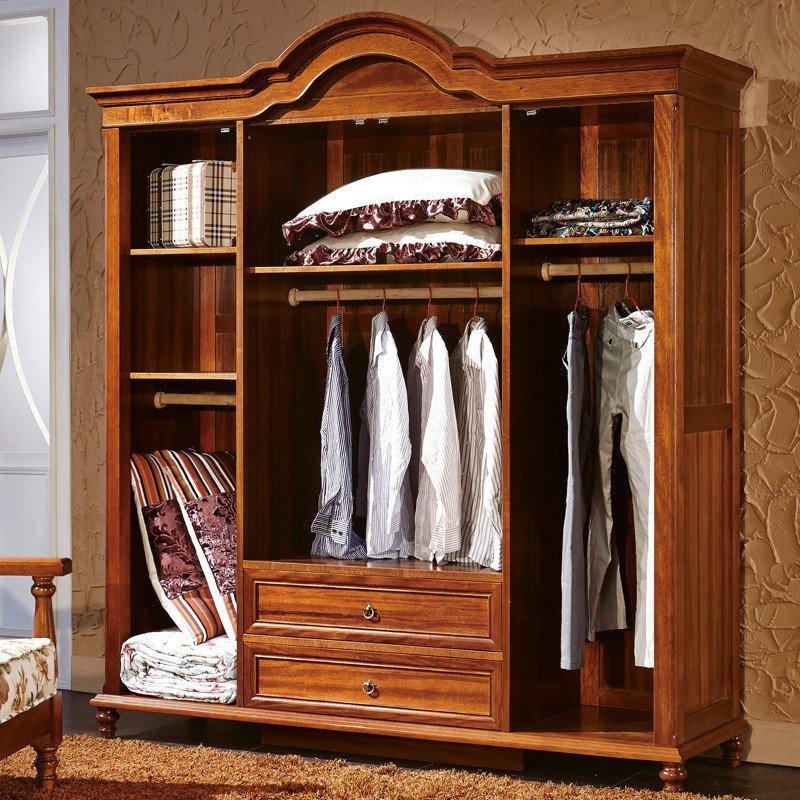 法莉娜 欧式实木衣柜 中式胡桃木四门衣柜 法式新古典卧室衣橱p28图片