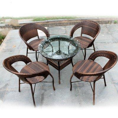 京好 藤椅子茶几五件套装 高档阳台 现代简约环保休闲办公户外家具A79