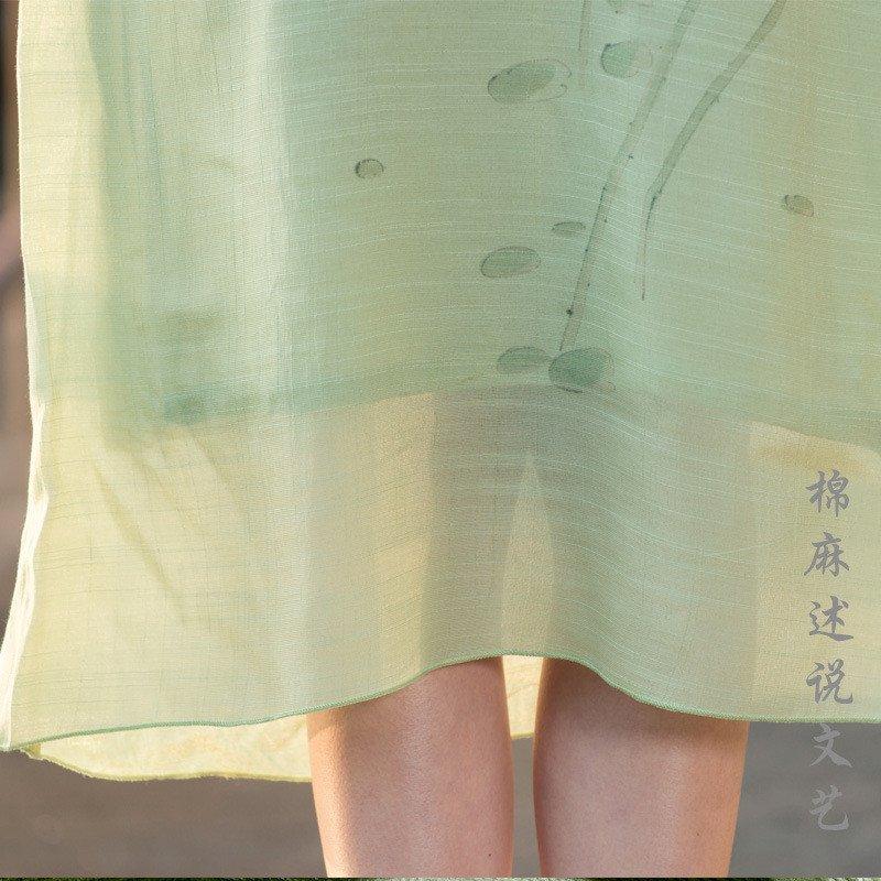 莲香鸟2016新款女装民族文艺风手绘中袖立领长袍连衣裙