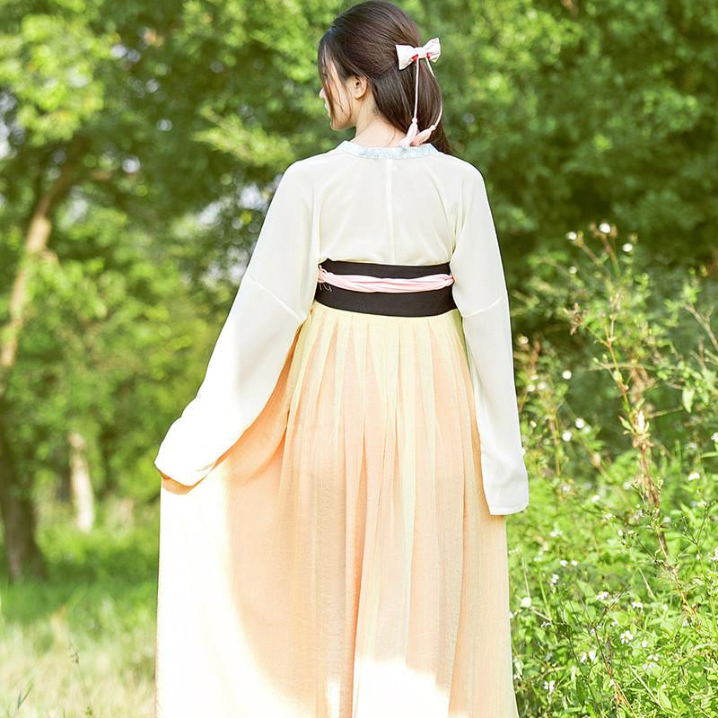 莲香鸟2015森女系汉服刺绣花双层齐胸襦裙民族风长裙古装