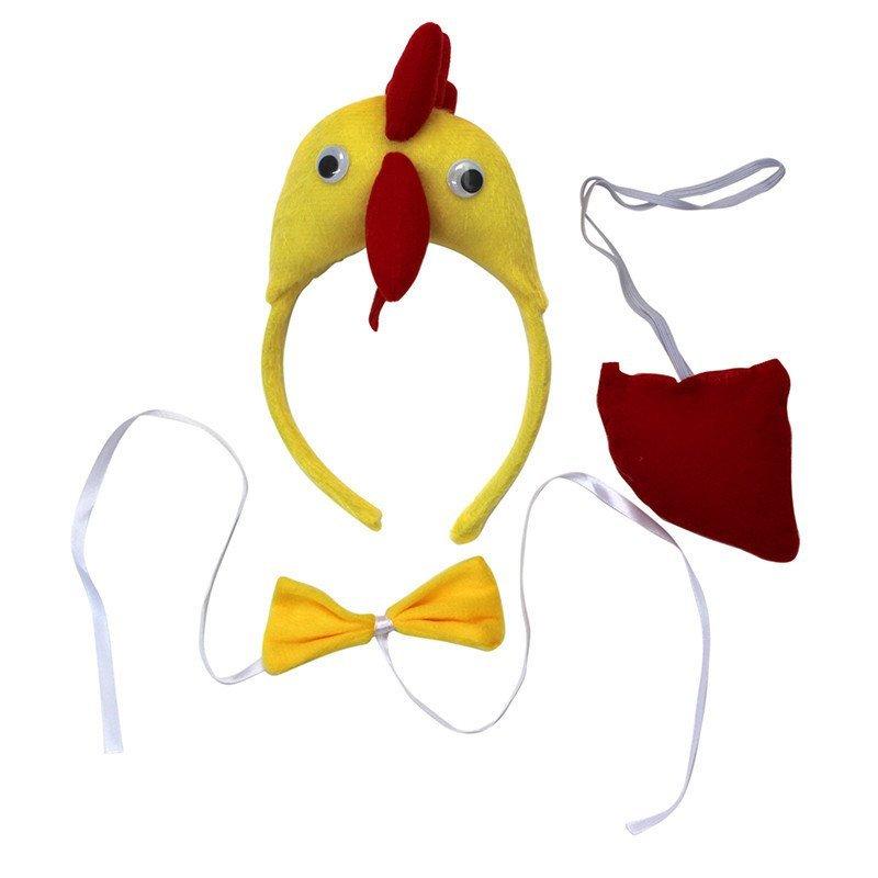 欢乐派对年会晚会动物表演演出头饰道具动物三件套小鸡头饰发卡领结