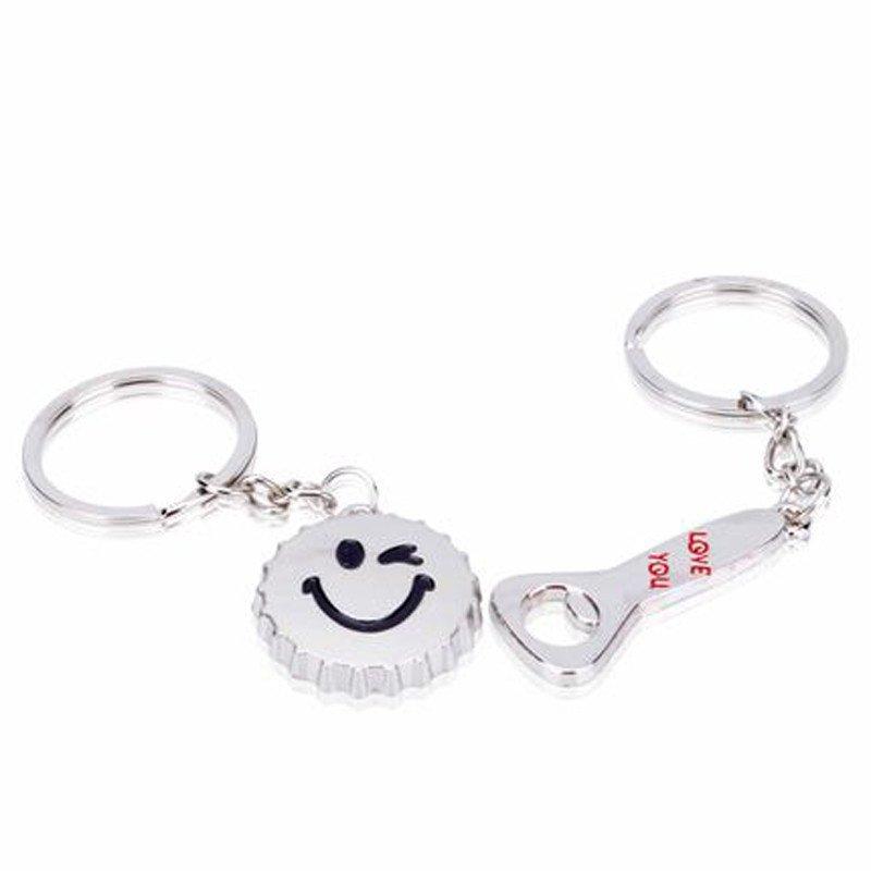 卡通笑脸啤酒瓶盖开瓶器钥匙扣一对情侣钥匙圈创意可爱钥匙链