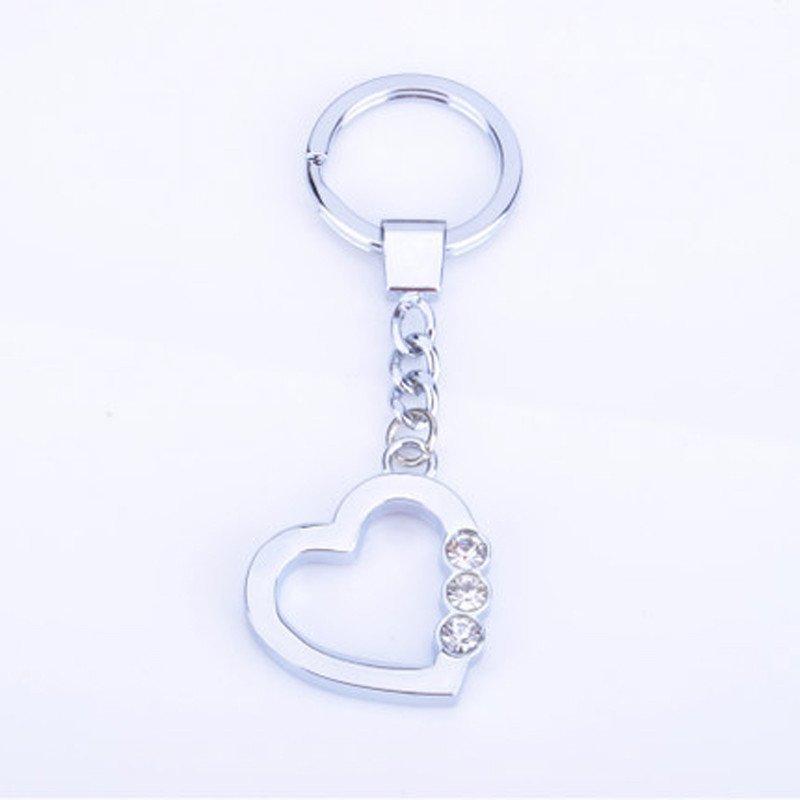 心形带三钻钥匙扣钥匙扣爱心钥匙圈礼品钥匙扣