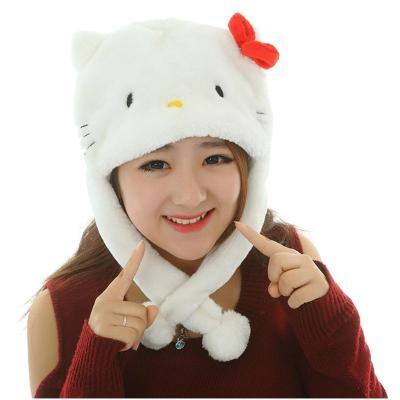 绒翼gd权志龙同款哈士奇小狼帽子鹿晗熊猫毛绒卡通动物帽exo羊帽子 白