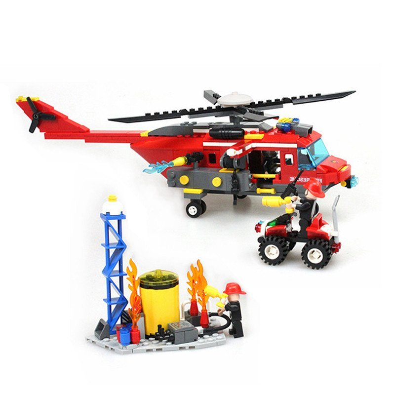 古迪积木9214城市消防系列 消防重型直升机 儿童益智拼装玩具