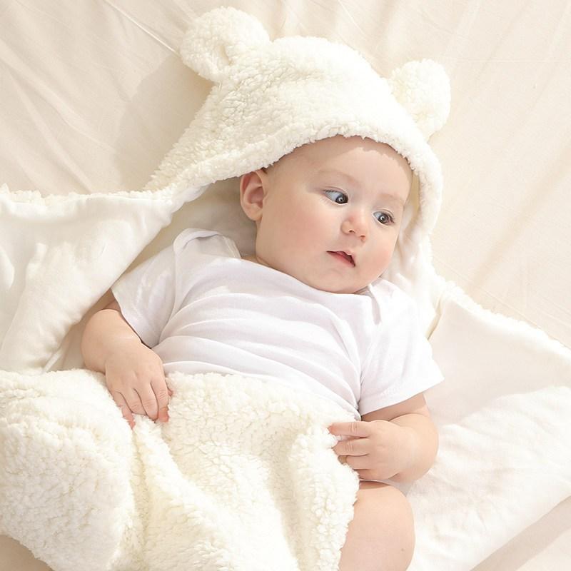 新生儿抱被初生婴儿包被秋冬加厚 宝宝襁褓包巾羊羔绒