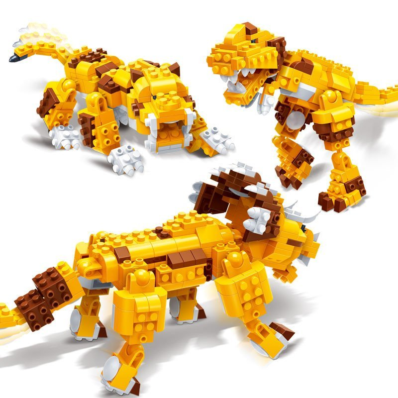 邦宝新品益智积木玩具动物创意3合1恐龙虎三角龙