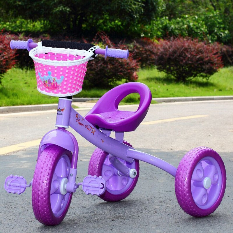 舒贝乐儿童三轮车脚踏车 宝宝孩子童车 自行车时尚款大踏板防摔款