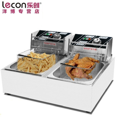 lecon/乐创洋博 商用电炸炉 12L不锈钢油炸锅 双缸电炸锅 油条炸机薯塔机 炸薯条油炸炉