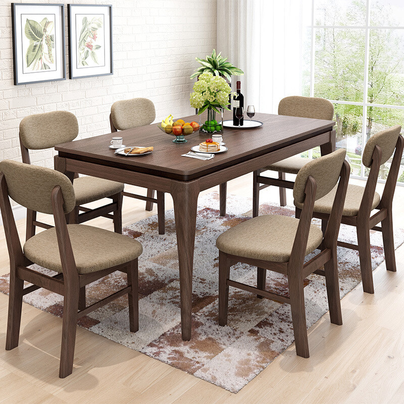华纳斯 北欧简约餐桌 实木餐桌餐椅组合套装图片