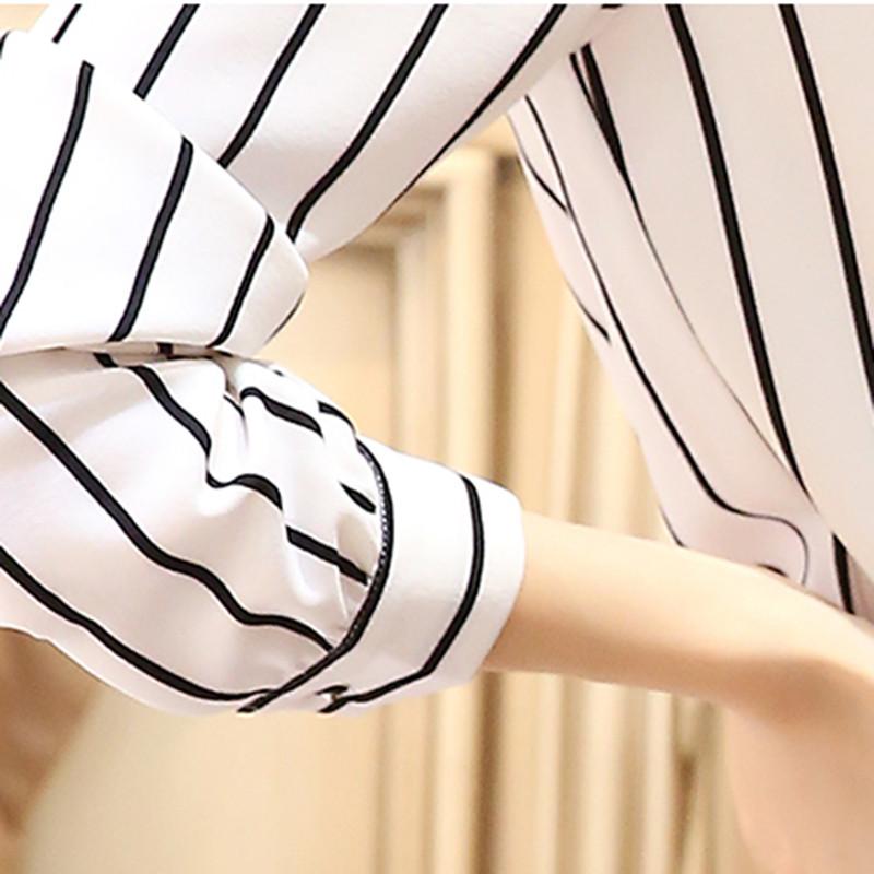 zorn carter2016新款黑白条纹衬衫女长袖韩范大码雪纺