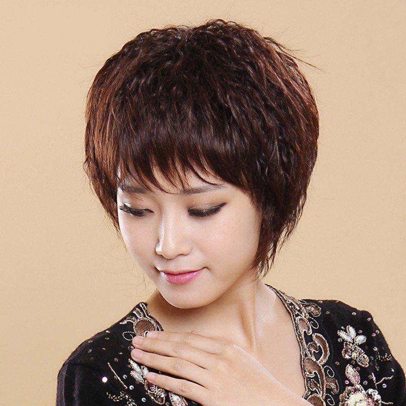 小苏妞假发 时尚中老年假发短卷发短发 斜刘海假发女士头套短卷刘海真图片