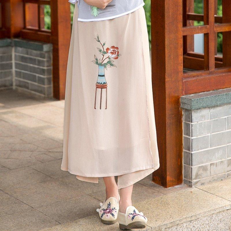 扬姿2016民国风女装长裙中国风手绘印花汉服元素长款半身裙夏装q