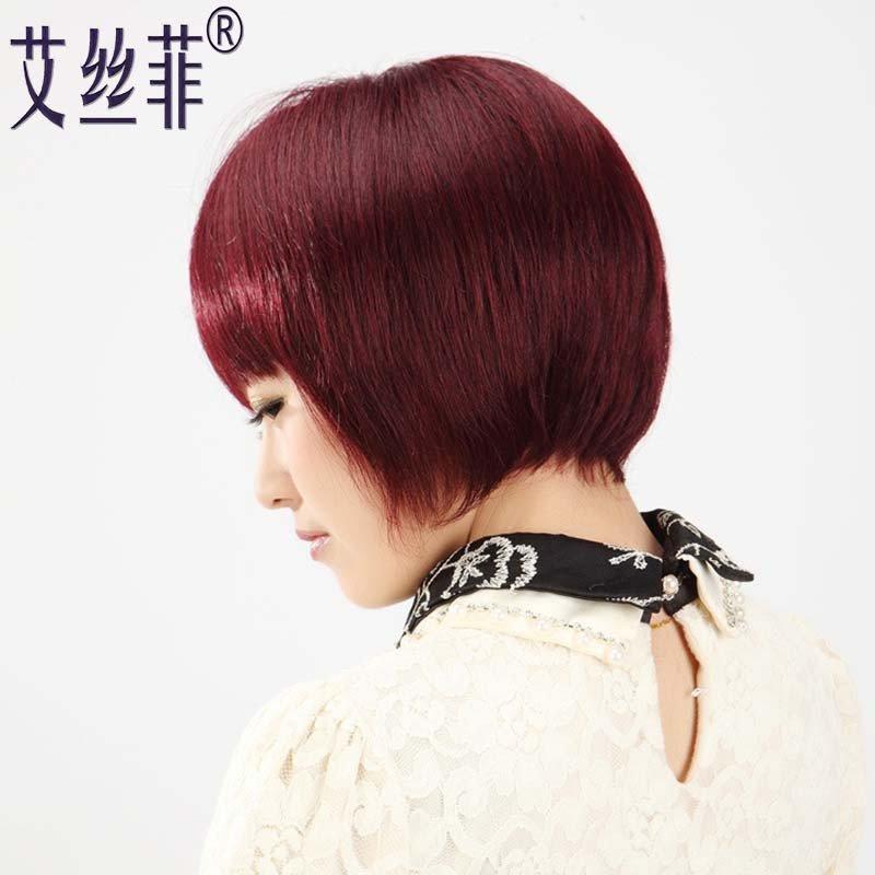 真发假发女短发 直发时尚齐刘海bobo头 女士波波头 (规格:酒红色)